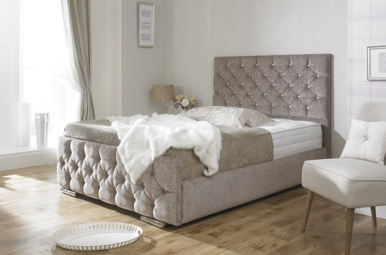 Waterbeds see our 5 star reviews on facebook uk water beds for Fabric bed frame with storage